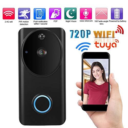 Draadloze deurbel, 720P HD intelligente anti-diefstal deurtelefoon Wifi video-intercom nachtzicht thuis anti-diefstal deurbel-zwart