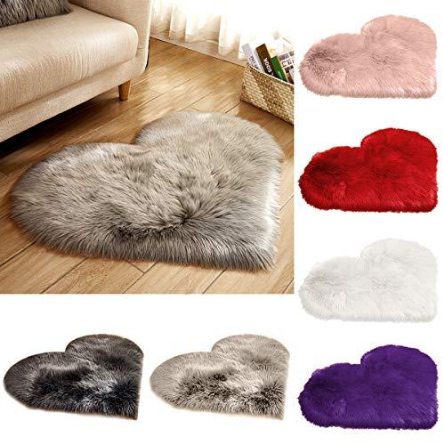 Yunhany Direct hart gevormde pluizige zachte tapijt vloer mat, Home slaapkamer Faux bont tapijt decor- wit, Lichtgrijs