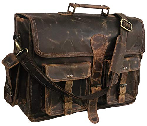 18 Inch Vintage Handmade Leather Messenger Bag for Laptop Briefcase Best Computer Satchel School Distressed Bag (Vintage Brown)
