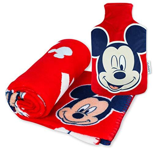Manta Polar y Bolsa de Agua Caliente, Pack de Mickey Mouse – Manta Infantil Súper Suave y Botella de Agua Caliente para el Frío con Diseño Oficial de Mickey Mouse | Regalos Originales para Niños
