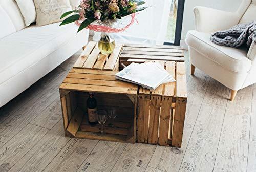 Gebrauchte Holzkisten im Set Angebot: Originale Vintage Obstkisten zum Möbelbau od. als Dekoration, sehr stabile Apfelkisten, geprüft und gereinigt 50x40x30 cm (6er Set) - 5