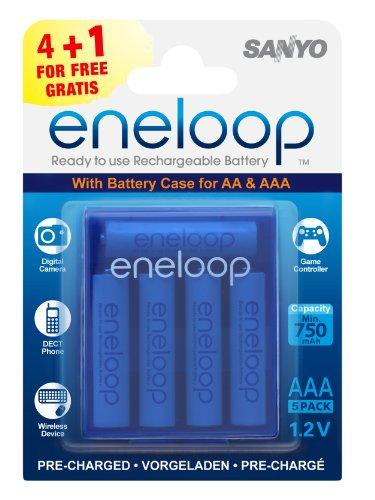 SANYO eneloop AAA ReadytoUse Micro NI-MH Akku HR-4UTGB-5BP-CASE (750 mAh, 5er Pack)