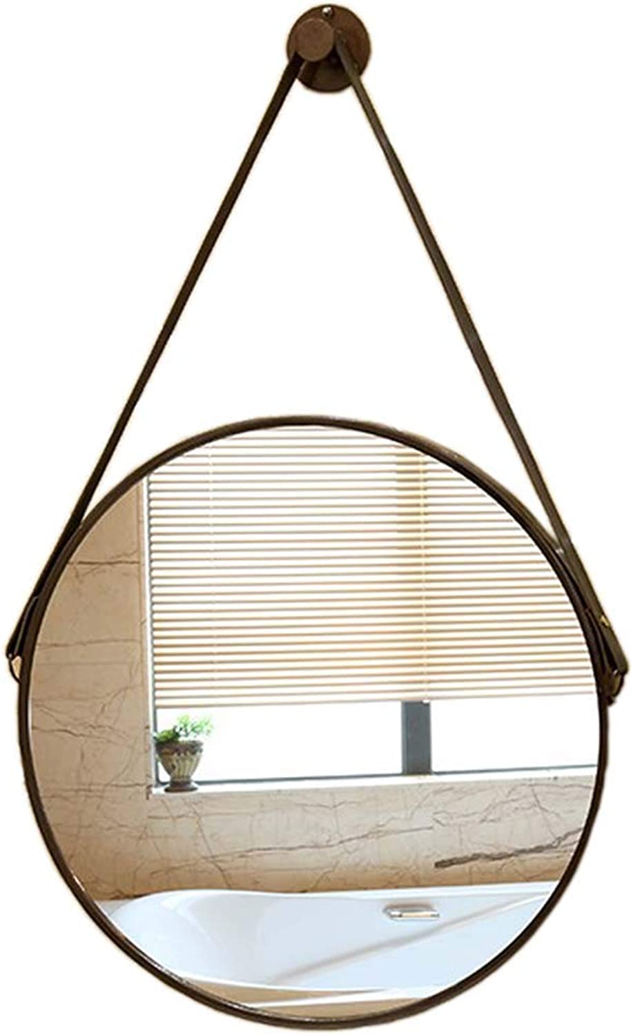 Vanity Mirror - Wall Round Decorative Hanging Mirror Bronze Metal Frame with Leather Sling Simple Yet Elegant Shaving Mirrors for Entryways Washrooms Living Rooms and More(19.7Inch)