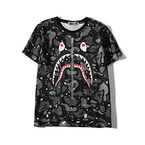 Moda para hombre Luminous Camo Shark Mouth Print, camiseta informal de algodón con cuello redondo de manga corta, el regalo más esperado para hombres y mujeres, mediana