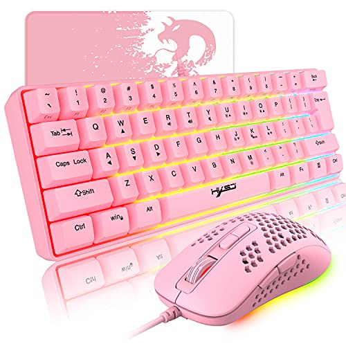Wired Pink Gaming Keyboard and Mouse Combo,61 Keys Compact RGB Backlit Mechanical Feel Keyboard,RGB Backlit 2400 DPI Lightweight Gaming Mouse with Honeycomb Shell for Windows PC Gamers (Pink)