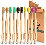 Goaycer Eco Friendly Bamboo Toothbrush , 10Pack Medium Firm Bristles Biodegradable Bulk Wooden Toothbrushes