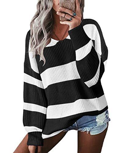YOINS Pullover Damen Oberteile Streifen Strickpullover Sweater V-Ausschnitt Streifenpullover Farbblock Herbst Winter Jumper Sweatshirt Schwarz XXL