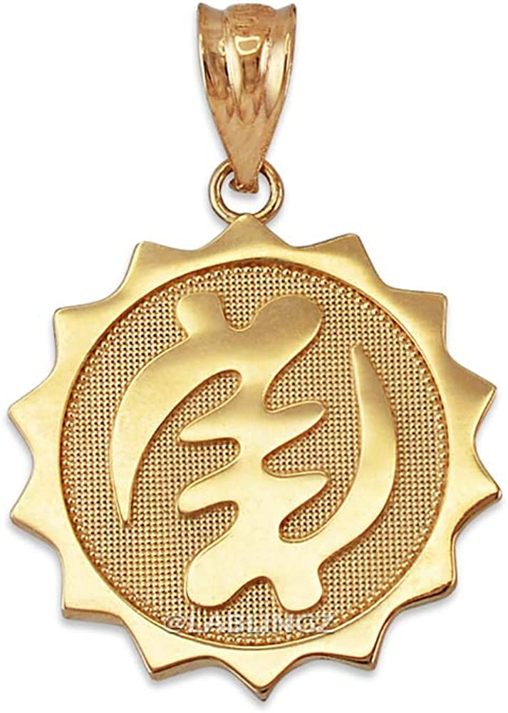 10K Yellow Gold African A surprise price is realized Adinkra Pendant Gye trend rank Nyame Neck Medallion