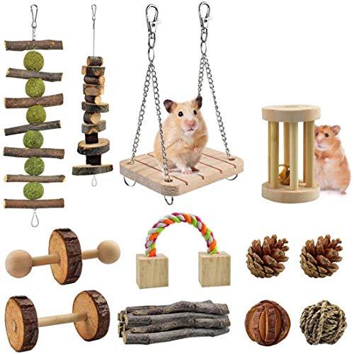 Juego de juguetes para masticar hámster, accesorios para ratas de jerbo de madera natural, cuidado de los dientes de animales pequeños para conejillo, loro, chinchilla, conejillo de indias, 12 piezas