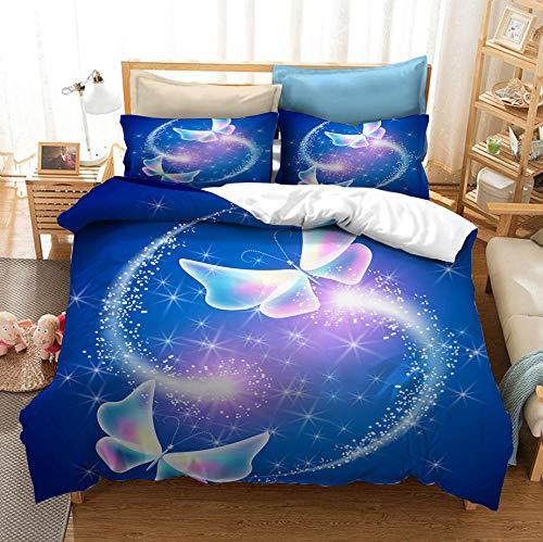 Dream Butterfly juego de cama con funda nórdica para adultos y adolescentes, ropa de cama con funda nórdica 3D, cama individual suave y cómoda, cama doble, textiles para el hogar-E_220x240cm (3pcs)