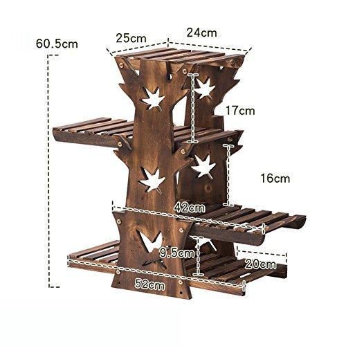 ZX Balcon Multi-étages Fleur Rack Étage En Bois Bonsaï Fleur Étagère Salon Intérieur Bois Fleur Racks (60.5 * 52 * 25 cm) Étagères