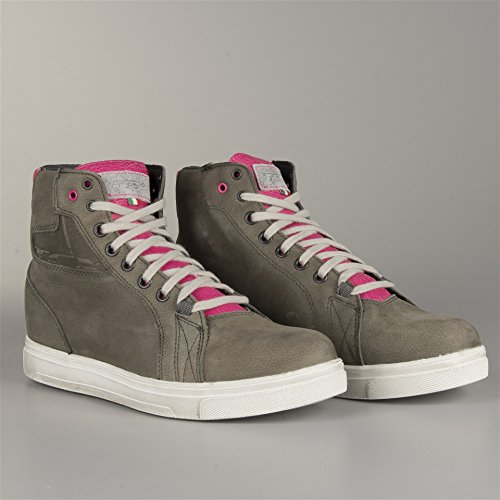 9422W - TCX Street Ace WP Ladies Leather Motorcycle Boots 42 Cold Grey Fucsia (UK 8)
