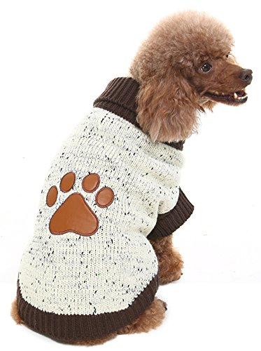 Medium Turtleneck Dog Sweater Brown Paw Pattern