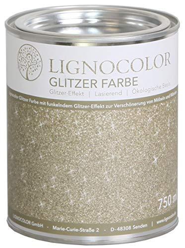 Lignocolor Glitzer Farbe (750 ml, Sand) Möbel und Wände in Glitter Optik, Effektfarbe Glitzereffekt, nicht deckend (transparent) – Made in Deutschland…