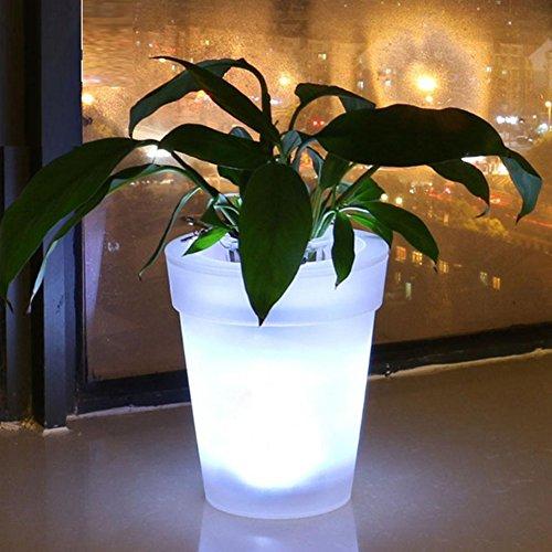 Vaso da fiori con luce a LED, alimentato a energia solare bianco vaso da fiori per giardino cortile balcone decorazione