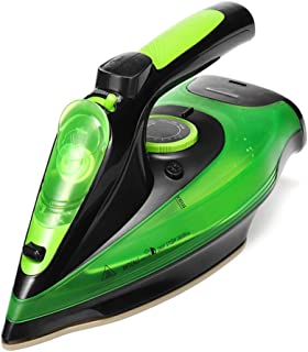 HRRH 220v 2400W Cordless Electric Steam Iron, Steam Generator Clothes Ironing Steamer Ceramic Soleplate Portable 5 Speed Adjust for Garment,Green