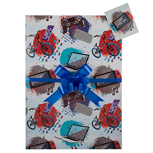 Boys Bike Phone Gaming Computer Gift Wrap Pack, Two Sheets, Two Tags and Two Co-ordinating Blue Pull Bows. Perfect for Boys, Child's Birthday Gift, Present,