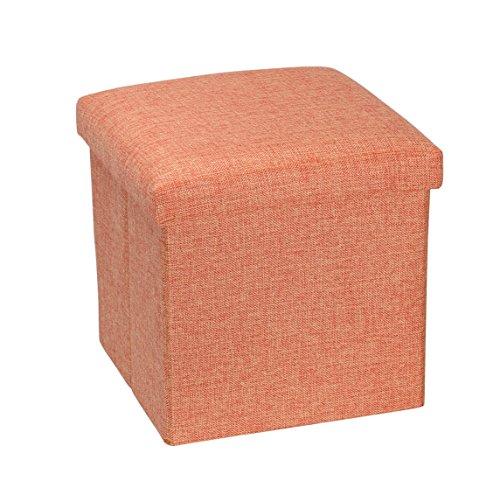 NISUNS OT01 Linen Folding Storage Ottoman Cube Footrest Seat, 12 X 12 X 12 Inches (Linen Orange)