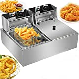 Electric Deep Fryer, Stainless Steel Professional Commercial Frying Machine Chicken Chips French Fryer with Basket &Lid...