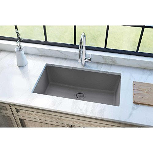 Elkay Quartz Classic ELGRU13322GS0 Greystone Single Bowl Undermount Sink