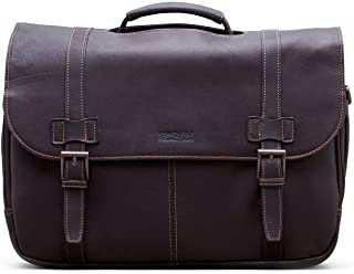 Show Business Full-Grain Colombian Leather Dual Compartment Flapover 15.6-inch Laptop Business Portfolio