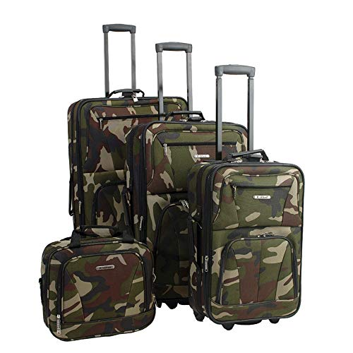 Rockland Luggage Skate Wheels 4 Piece Luggage Set, Camouflage, One Size