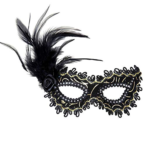 PARTY DISCOUNT Maske Venezia Augenmaske mit Federn