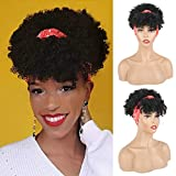 Aisaide Short Afro Kinky Curly Wigs for Black Women,Synthetic High Puff Afro Ponytail Drawstring Black Wig with Bangs Wrap Wigs 2 in 1 Afro Headwrap Wig with Headband Attached Turban Wig Updo Wig