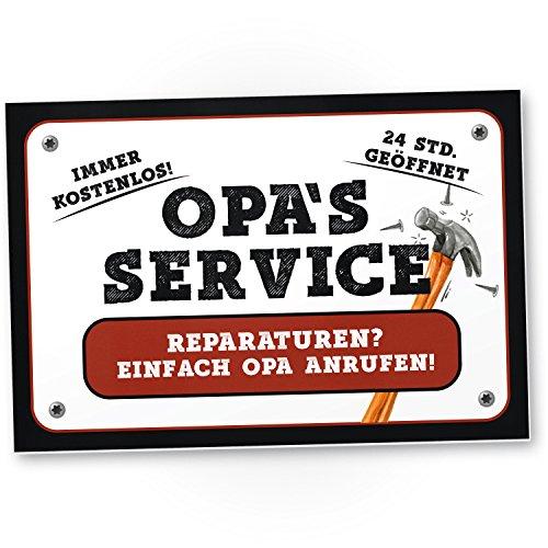 DankeDir! Opa's Service Kunststoff Schild (weiß) - Süßes Türschild Opa's Werkstatt, Wanddeko, Geschenkidee Geburtstagsgeschenk Opa, Persönliches/süßes Geschenk Großvater/die Großeltern