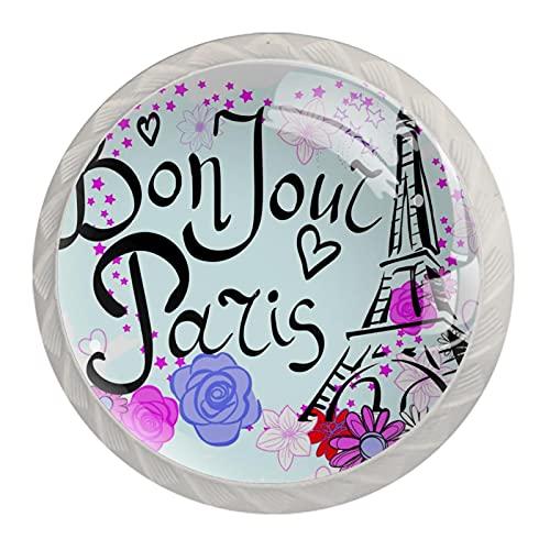 Paris Torre Eiffel con flores, 4 unidades de pomos de ABS para aparador, cajones y cajones de cocina