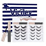 Viciley Magnetic Eyelashes Kit, 2 Tubes of Magnetic Eyeliner and 10 Pairs Invisible Magnetic Eyelashes, 2021 Upgraded 5D Reusable Natural Look False Lashes