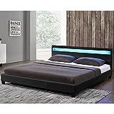 Polsterbett Paris 160 × 200 cm – Bettgestell mit LED Beleuchtung, Lattenrost & Kopfteil – Kunstleder & Holz – schwarz – Bett Gästebett - 5