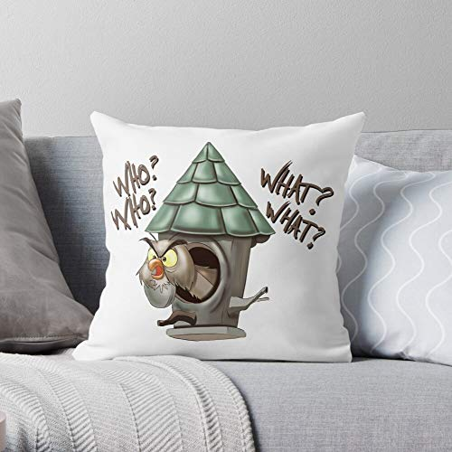 Fsgdaybyday in Funny Hoot Cartoon Stone Sword Archimedes Owl - Modern Decorative & Lightweight Soft Cotton Polyester Throw Pillow Cases for Bedroom/Living Room/Sofa Chair & Car