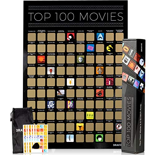 Movie Scratch Off Poster With Easy Off Gold Foil - Instantly Reveals Your Top 100 Movie Icons - 17 x...