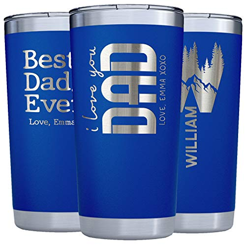 Dad Gift From Daughter, Son to Father - Personalized Tumblers w/Splash Proof Lid - 20oz - Vacuum Insulated Travel Coffee Mugs - Stainless Steel Double...