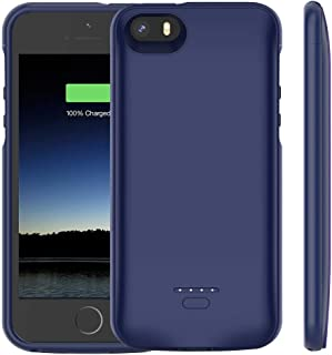 iPhone 5 /5S /SE Battery Case, Euhan 4000mAh Rechargeable Portable Power Charging Case for iPhone 5 5S SE Extended Battery Pack Charger Case Ultra Thin -Blue [ Not Compatible with iPhone 5C ]