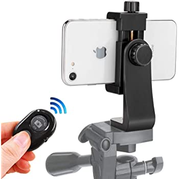 Phone Tripod Mount for iPhone with Remote 360° Rotation Smartphone Holder Phone Adapter Clip Compatible with iPhone 11 Pro Xs Max XR X 8 7 6 6s Plus Samsung Nexus