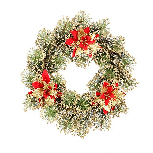 Ownlife Künstliche Kranz Tür hängende Weihnachtskranz Girlande mit Weihnachtsblumen for Haupthochzeits-Dekoration