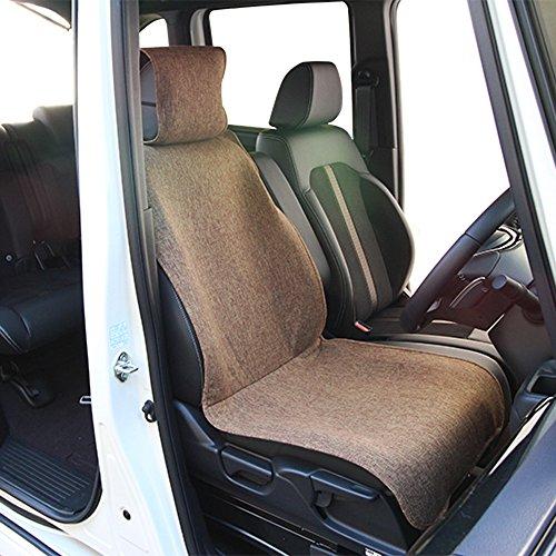 錦産業前席用シートカバーリネン調生地フリーサイズ(1枚入・ブラウン)Calm(カーム)AM-7363
