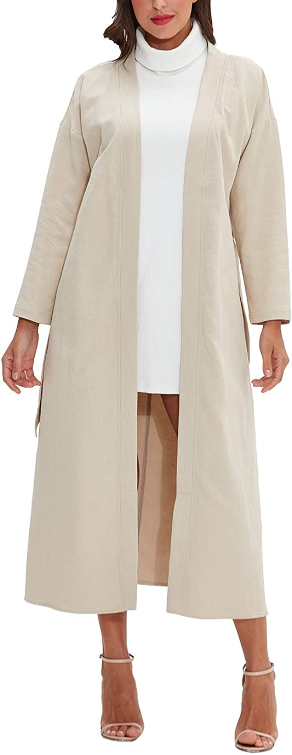 Amazhiyu Womens Long Sleeve Ankle Length Jacket Coat with Belt Open Front Outerwear for Winter
