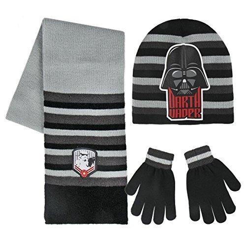 Cerdá 2200002553 Set de bufanda, gorro y guantes, Gris (Negro 001), One Size (Tamaño del fabricante:Única) para Niños