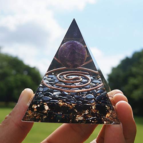 Orgone Amatista Esfera Cristal Gema Pirámide Orgonita Piedra Cuarzo y Cobre
