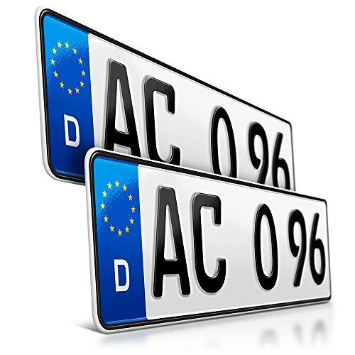 schildEVO 2 Kfz Kennzeichen | 400 x 110 mm | DIN-Zertifiziert – individuelles EU Wunschkennzeichen | PKW Nummernschild | kurzes Autokennzeichen | Auto-Schild | Fahrradträger & Anhänger | DHL-Versand