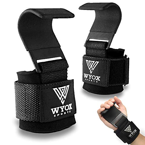 WYOX Sports Heavy Duty Weight Lifting Hooks with Wrist Straps for Pull-ups - Power Lift - Deadlift - Weightlifting Grips and Gym Workout Gloves for Men & Women (Black, Flat Hook (One Size Fits All))