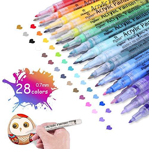 OFUN 0.7mm Acrílico Pintura rotulador, 28 Colore Impermeables lápices acrílico Punta Fina para Pintura rupestre, proyectos de Bricolaje, cerámica, Metal, Papel