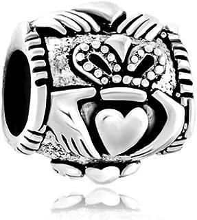 Q&Locket 925 Sterling Silver Irish Claddagh Heart Best Friend Charm Friendship Charms for Bracelet