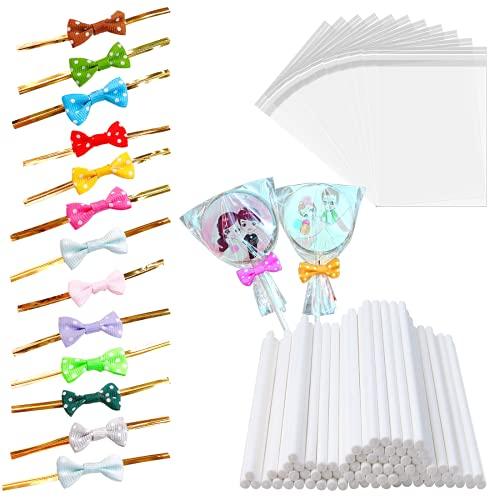 100 palillos de papel de piruleta blanca, 100 lazos de lazo lindos, 100 bolsas de plástico transparente, para panadería, galletas decorativas