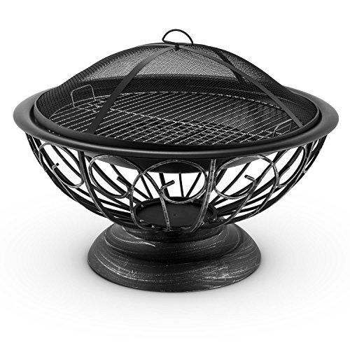 blumfeldt Tulip Fire Pit - Barbecue Fireplace, ø75 cm, Spark Protection, Decorative Design, Made of Burnished Steel, Large 60cm BBQ Grill Included, For use with Charcoal or Firewood, Black