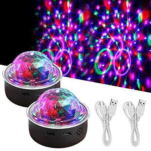 LED Discokugel, Mini RGB Discolampe Musikgesteuert Partyleuchte, USB Wiederaufladbar Disco Lichteffekt Partylicht Bühnenbeleuchtung für Kinder, Bar, Club, Party, 2 Stück