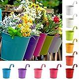 Cozywind 10pcs Macetas Colgantes de Colores, Metálicos Maceteros Exterior para Plantar Pequeñas...